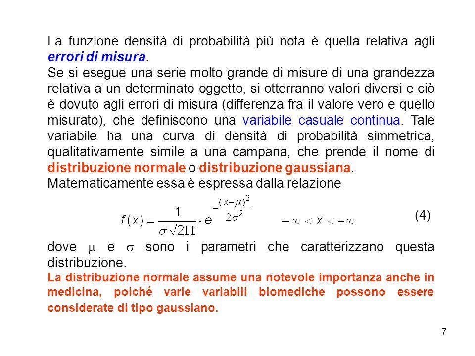 7 La funzione densità di probabilità più nota è quella relativa agli errori di misura.