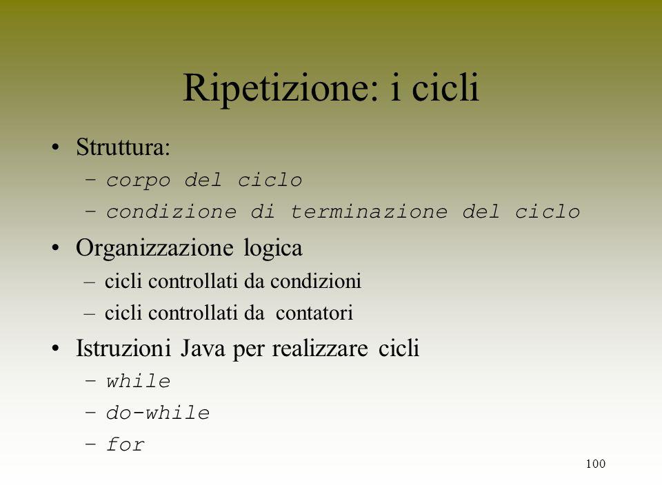 100 Ripetizione: i cicli Struttura: –corpo del ciclo –condizione di terminazione del ciclo Organizzazione logica –cicli controllati da condizioni –cic