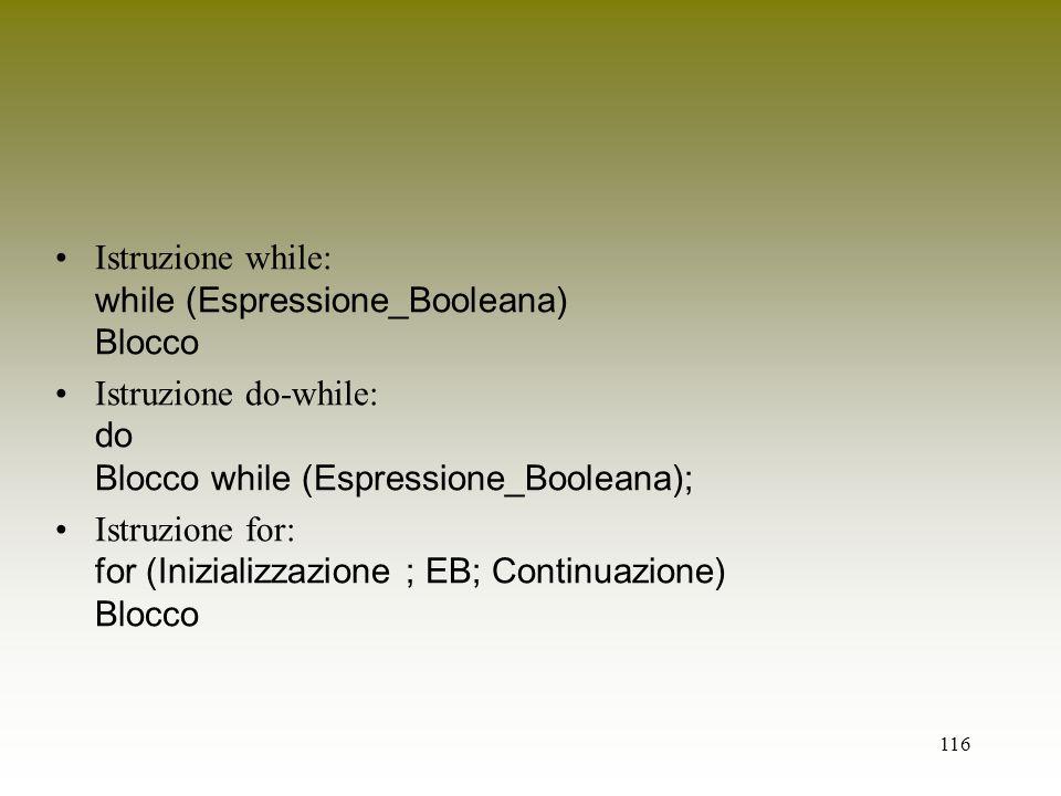 116 Istruzione while: while (Espressione_Booleana) Blocco Istruzione do-while: do Blocco while (Espressione_Booleana); Istruzione for: for (Inizializz