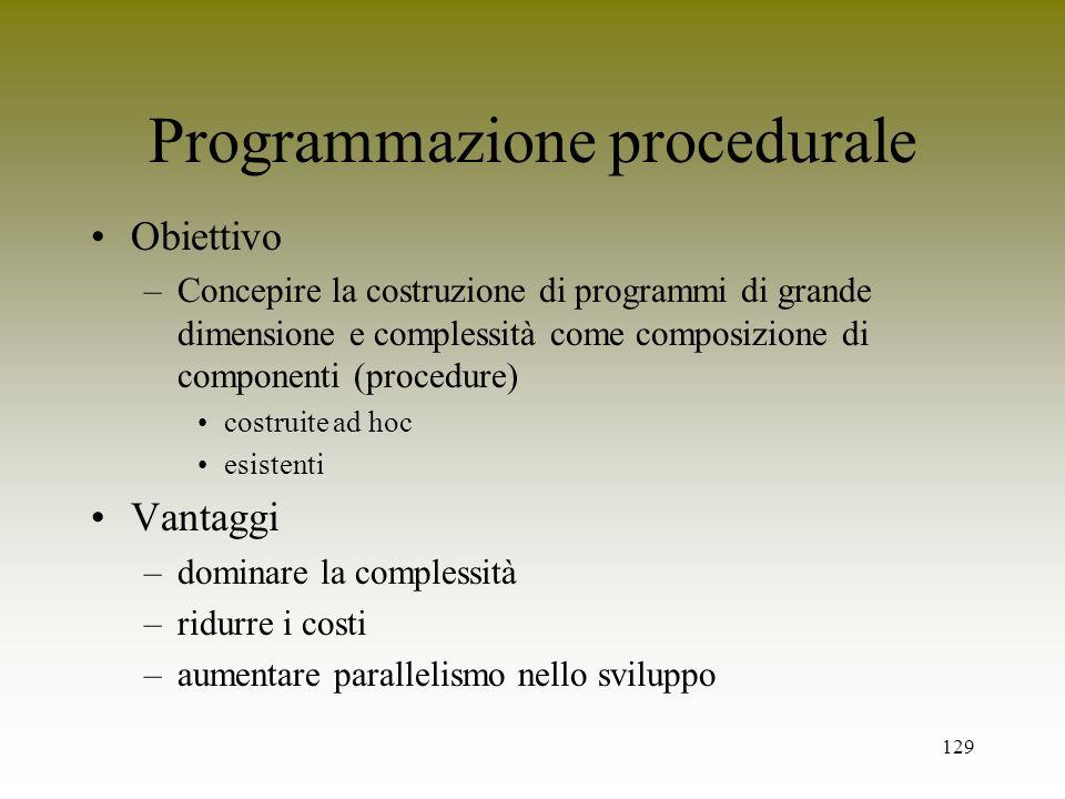 129 Programmazione procedurale Obiettivo –Concepire la costruzione di programmi di grande dimensione e complessità come composizione di componenti (pr