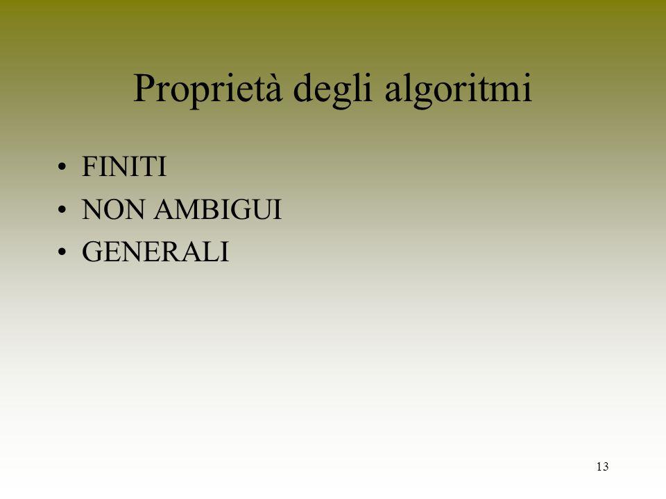 13 Proprietà degli algoritmi FINITI NON AMBIGUI GENERALI