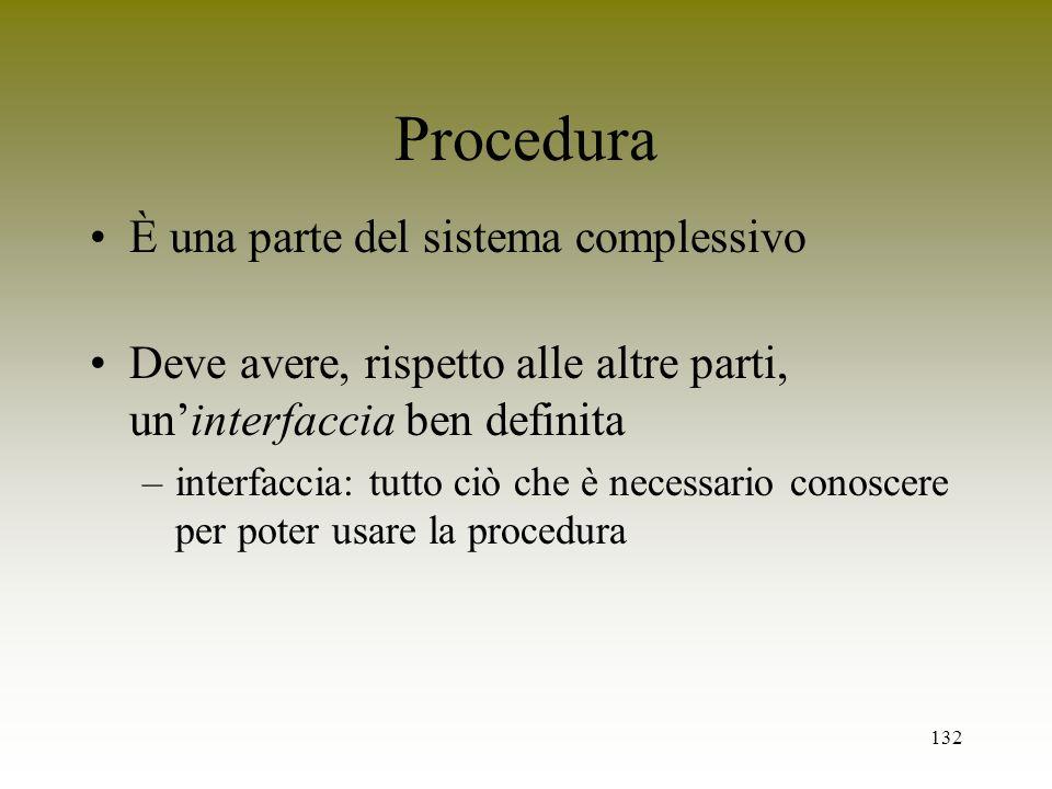 132 Procedura È una parte del sistema complessivo Deve avere, rispetto alle altre parti, uninterfaccia ben definita –interfaccia: tutto ciò che è nece