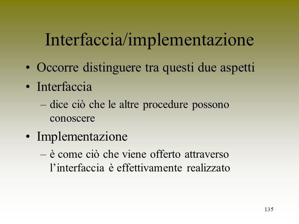 135 Interfaccia/implementazione Occorre distinguere tra questi due aspetti Interfaccia –dice ciò che le altre procedure possono conoscere Implementazi