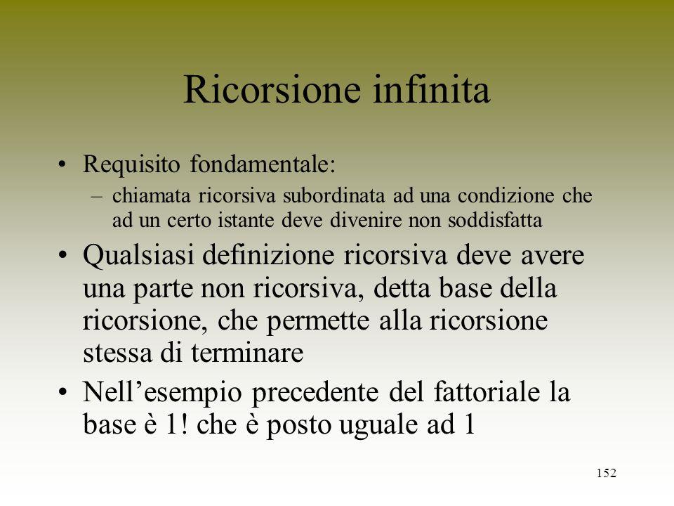 152 Ricorsione infinita Requisito fondamentale: –chiamata ricorsiva subordinata ad una condizione che ad un certo istante deve divenire non soddisfatt