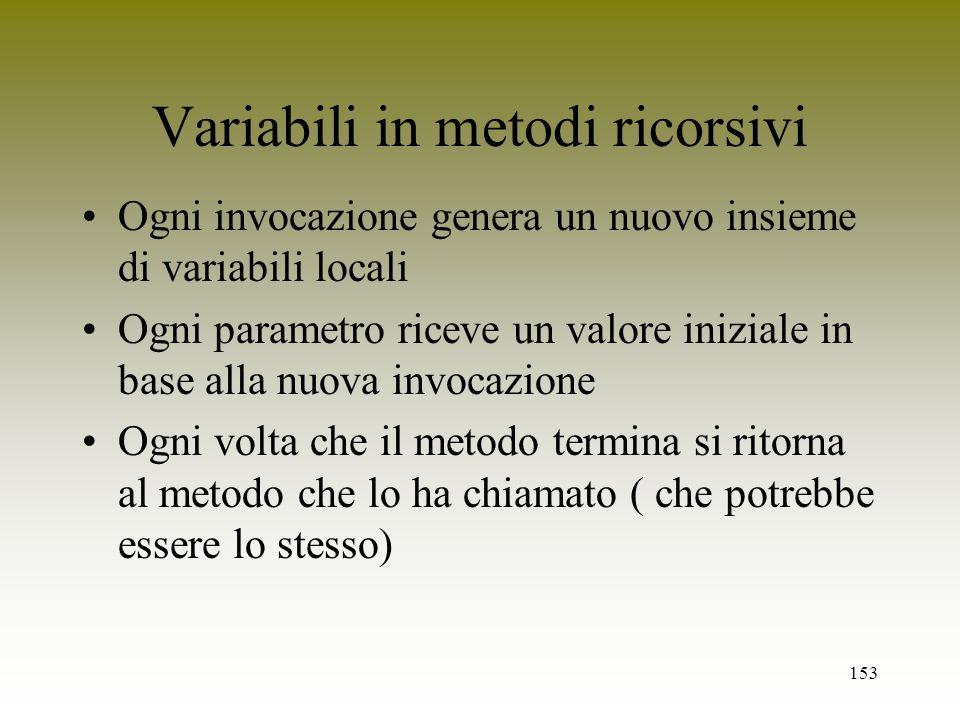153 Variabili in metodi ricorsivi Ogni invocazione genera un nuovo insieme di variabili locali Ogni parametro riceve un valore iniziale in base alla n