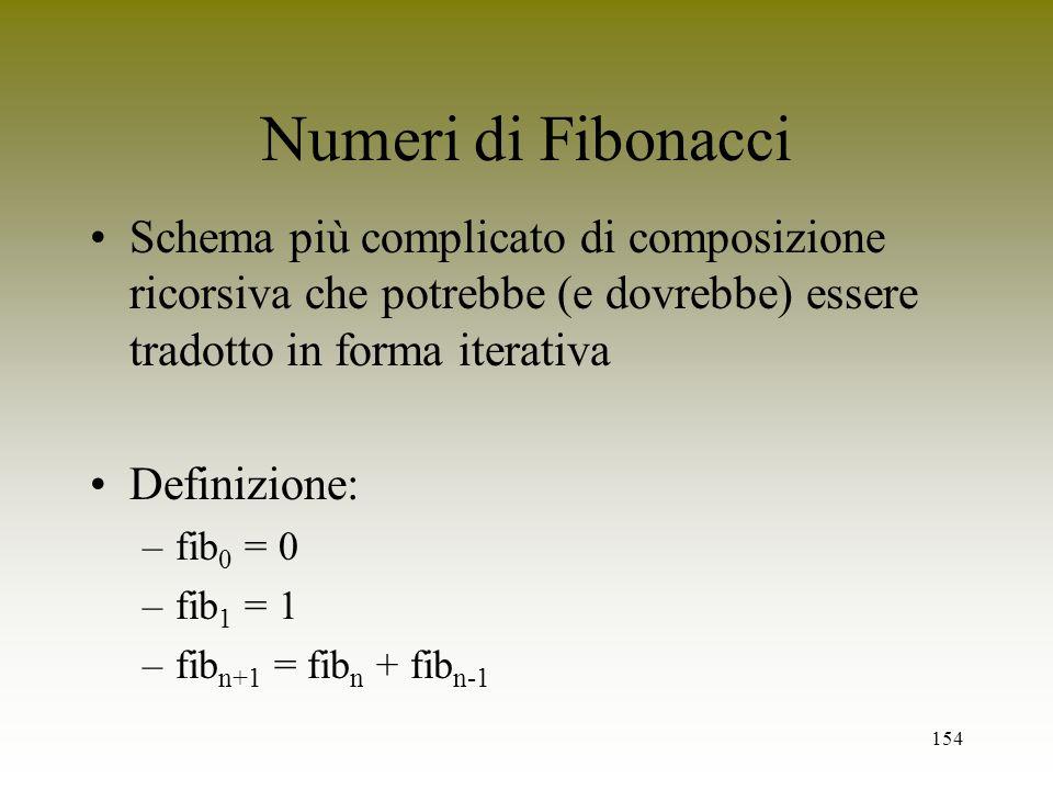 154 Numeri di Fibonacci Schema più complicato di composizione ricorsiva che potrebbe (e dovrebbe) essere tradotto in forma iterativa Definizione: –fib