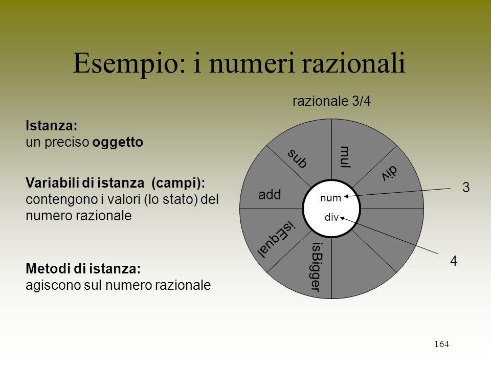 164 Esempio: i numeri razionali Variabili di istanza (campi): contengono i valori (lo stato) del numero razionale Istanza: un preciso oggetto Metodi d