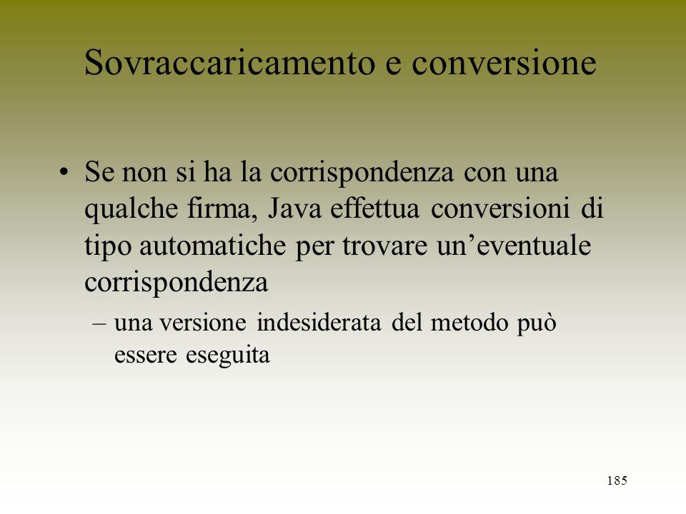 185 Sovraccaricamento e conversione Se non si ha la corrispondenza con una qualche firma, Java effettua conversioni di tipo automatiche per trovare un
