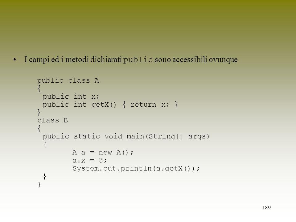 189 I campi ed i metodi dichiarati public sono accessibili ovunque public class A public int x; public int getX() return x; class B public static void