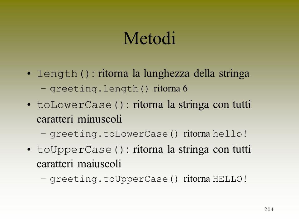 204 Metodi length() : ritorna la lunghezza della stringa –greeting.length() ritorna 6 toLowerCase() : ritorna la stringa con tutti caratteri minuscoli