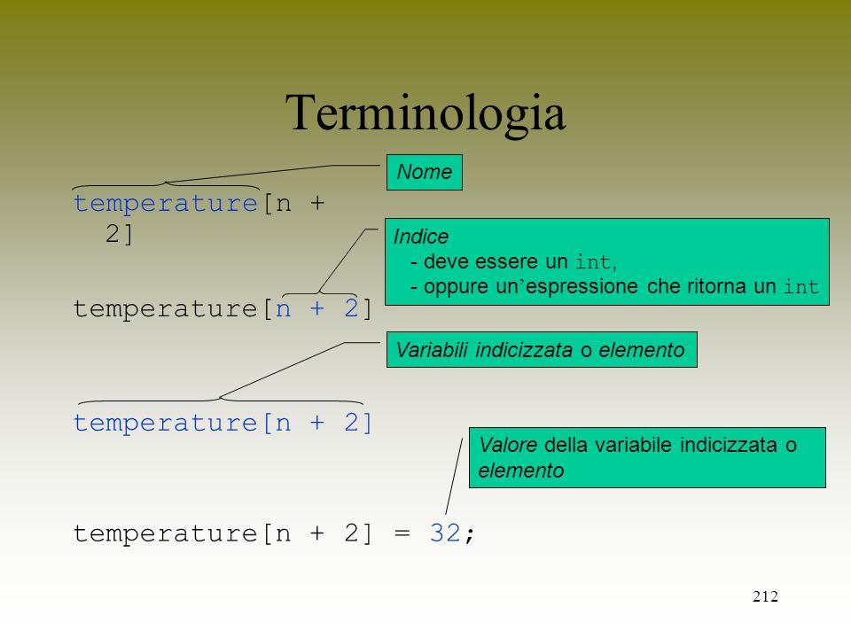 212 Terminologia temperature[n + 2] Nome temperature[n + 2] Indice - deve essere un int, - oppure un espressione che ritorna un int temperature[n + 2]