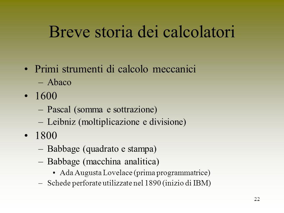 22 Breve storia dei calcolatori Primi strumenti di calcolo meccanici –Abaco 1600 –Pascal (somma e sottrazione) –Leibniz (moltiplicazione e divisione)