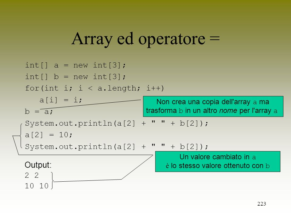 223 Array ed operatore = int[] a = new int[3]; int[] b = new int[3]; for(int i; i < a.length; i++) a[i] = i; b = a; System.out.println(a[2] +