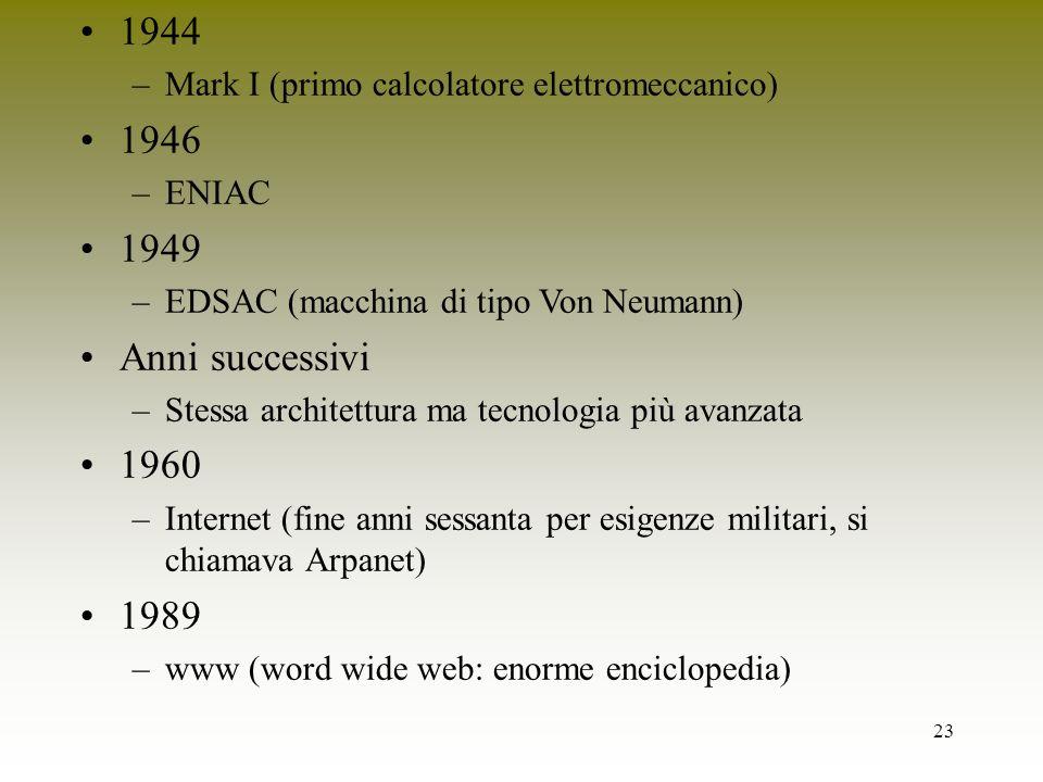 23 1944 –Mark I (primo calcolatore elettromeccanico) 1946 –ENIAC 1949 –EDSAC (macchina di tipo Von Neumann) Anni successivi –Stessa architettura ma te