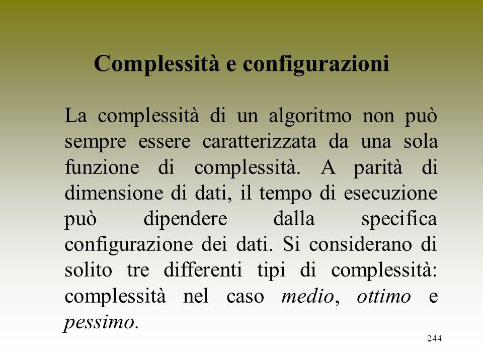 244 Complessità e configurazioni La complessità di un algoritmo non può sempre essere caratterizzata da una sola funzione di complessità. A parità di