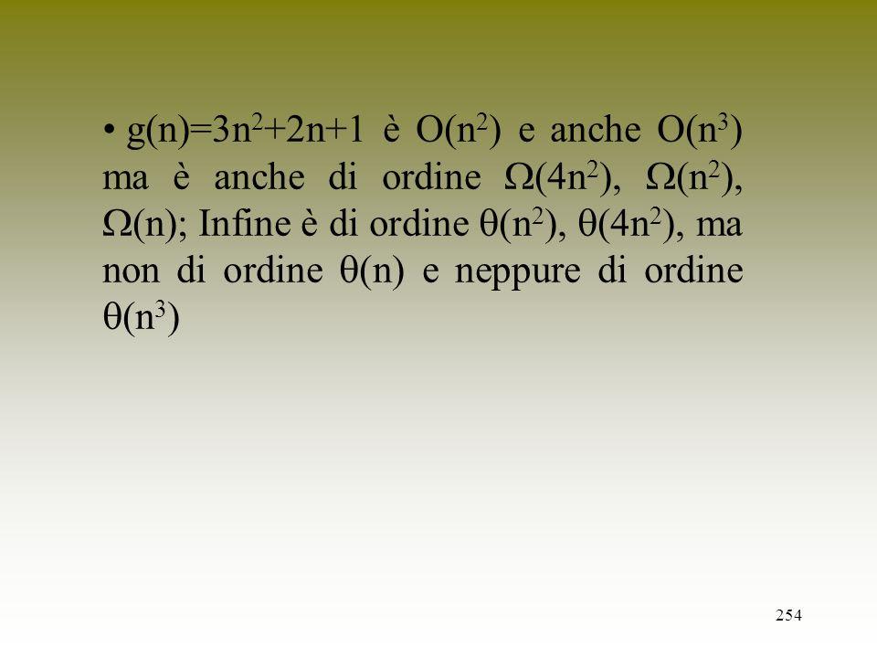 254 g(n)=3n 2 +2n+1 è O(n 2 ) e anche O(n 3 ) ma è anche di ordine (4n 2 ), (n 2 ), (n); Infine è di ordine (n 2 ), (4n 2 ), ma non di ordine (n) e ne
