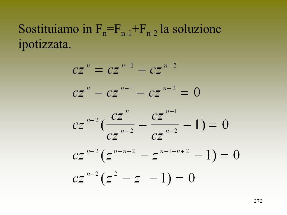 272 Sostituiamo in F n =F n-1 +F n-2 la soluzione ipotizzata.