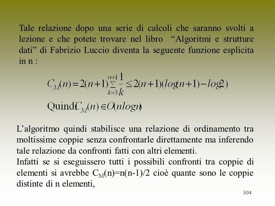 304 Tale relazione dopo una serie di calcoli che saranno svolti a lezione e che potete trovare nel libro Algoritmi e strutture dati di Fabrizio Luccio