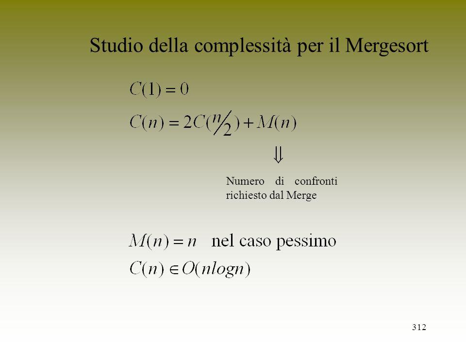 312 Numero di confronti richiesto dal Merge Studio della complessità per il Mergesort