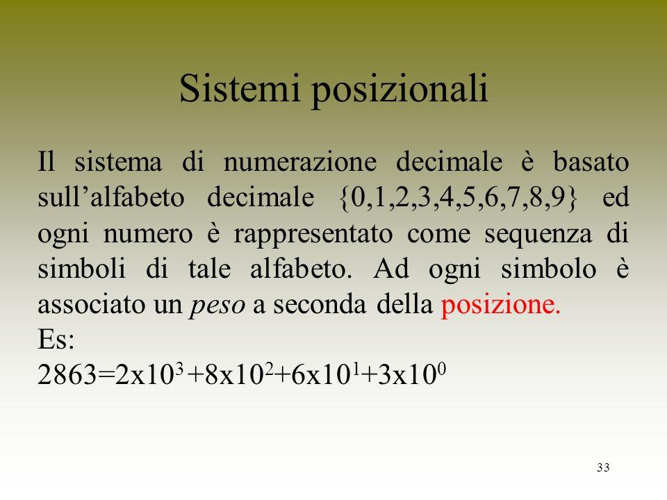 33 Sistemi posizionali Il sistema di numerazione decimale è basato sullalfabeto decimale {0,1,2,3,4,5,6,7,8,9} ed ogni numero è rappresentato come seq