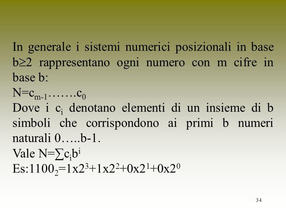 34 In generale i sistemi numerici posizionali in base b 2 rappresentano ogni numero con m cifre in base b: N=c m-1 …….c 0 Dove i c i denotano elementi