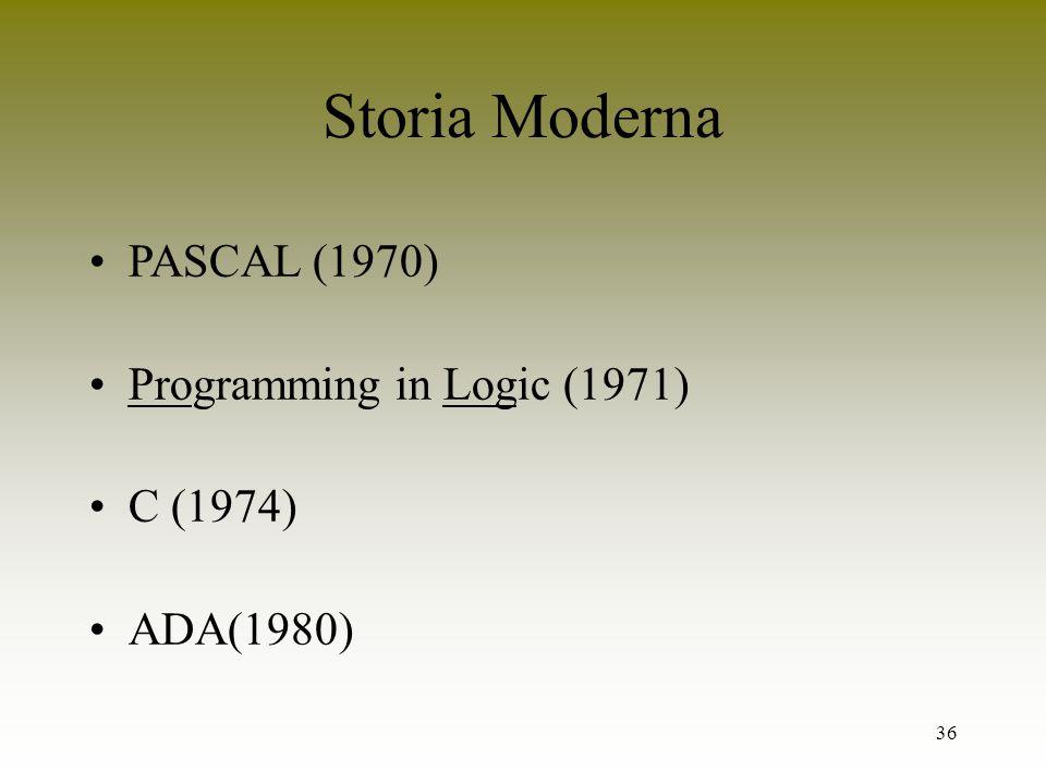 36 Storia Moderna PASCAL (1970) Programming in Logic (1971) C (1974) ADA(1980)