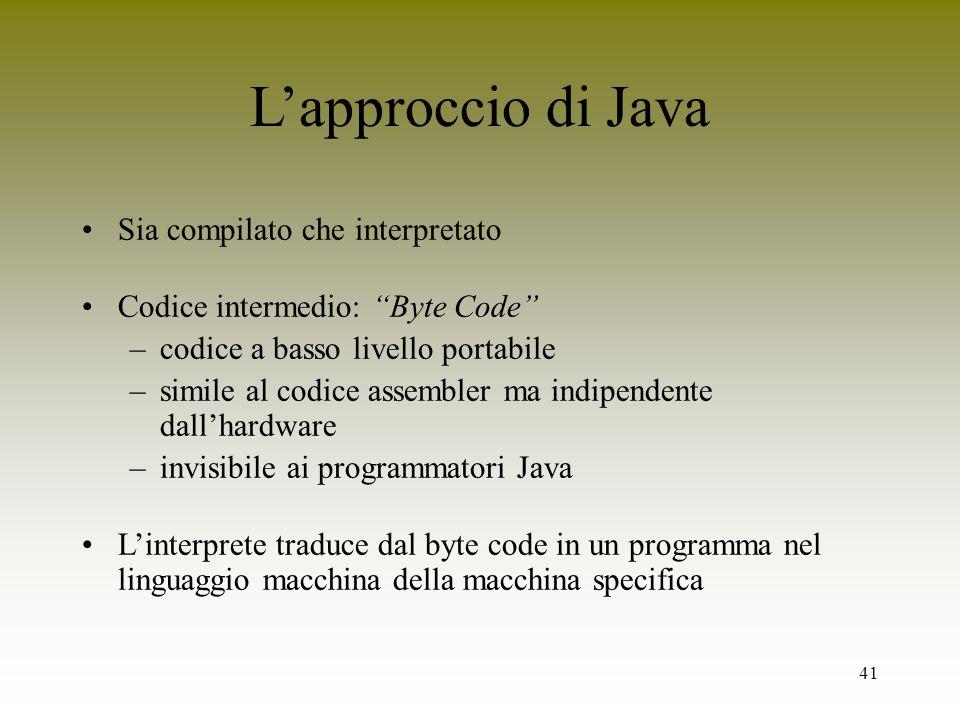41 Lapproccio di Java Sia compilato che interpretato Codice intermedio: Byte Code –codice a basso livello portabile –simile al codice assembler ma ind