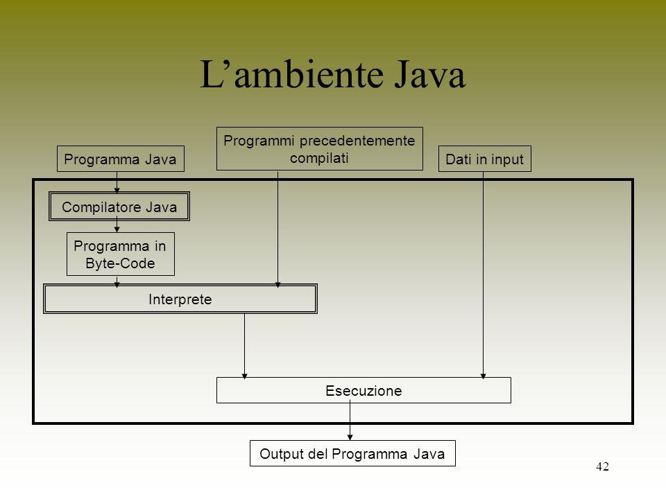 42 Lambiente Java Programma Java Compilatore Java Programma in Byte-Code Dati in input Esecuzione Interprete Programmi precedentemente compilati Outpu