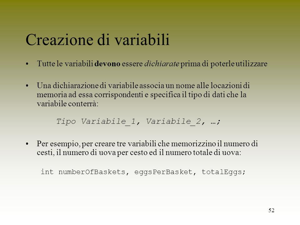 52 Creazione di variabili Tutte le variabili devono essere dichiarate prima di poterle utilizzare Una dichiarazione di variabile associa un nome alle
