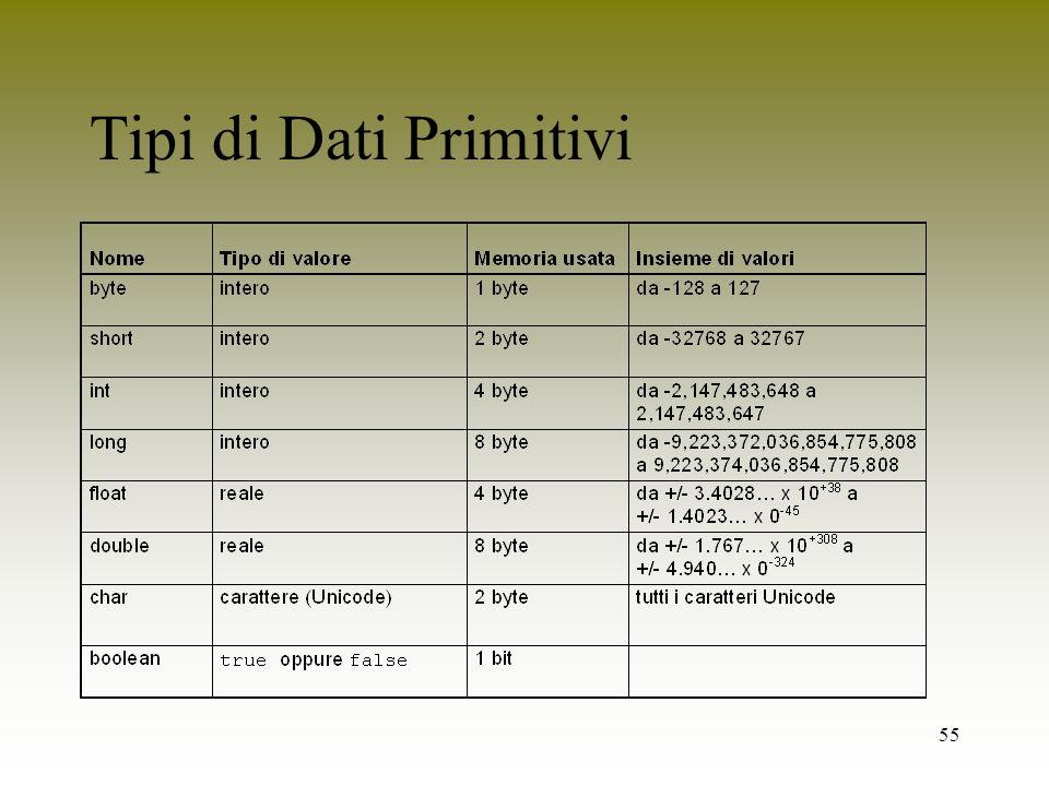 55 Tipi di Dati Primitivi