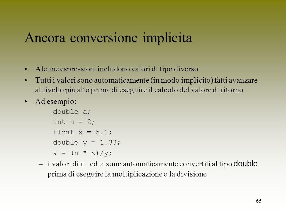 65 Ancora conversione implicita Alcune espressioni includono valori di tipo diverso Tutti i valori sono automaticamente (in modo implicito) fatti avan