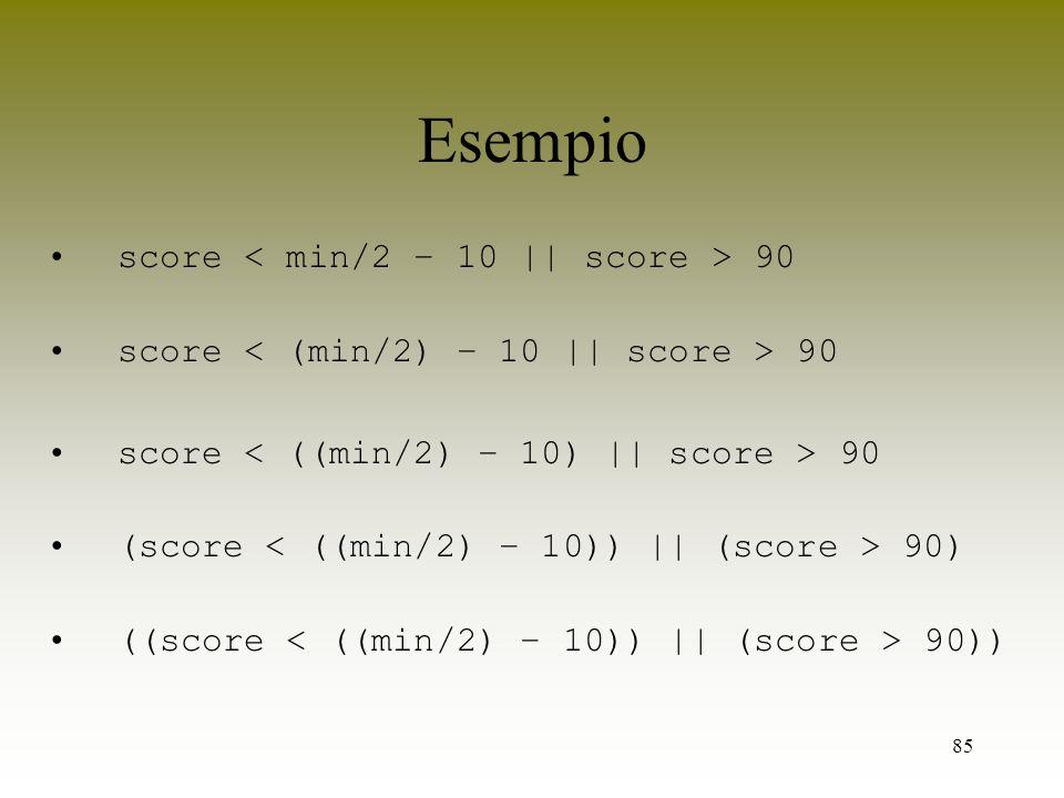 85 Esempio score 90 (score 90) ((score 90))