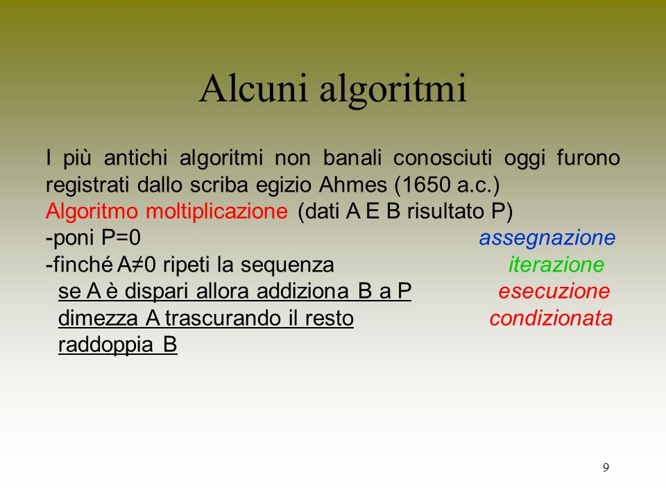 180 Un esempio riassuntivo class Rational int num, den; // variabili di istanza Rational(int n, int d) // costruttore num = n; den = d; Rational mul(Rational r) // operazione di moltiplicazione return new Rational(num*r.num,den*r.den); // altre operazioni aritmetiche boolean isBigger(Rational r) // confronto se maggiore return (num * r.den > den * r.num); // altre operazioni di confronto }