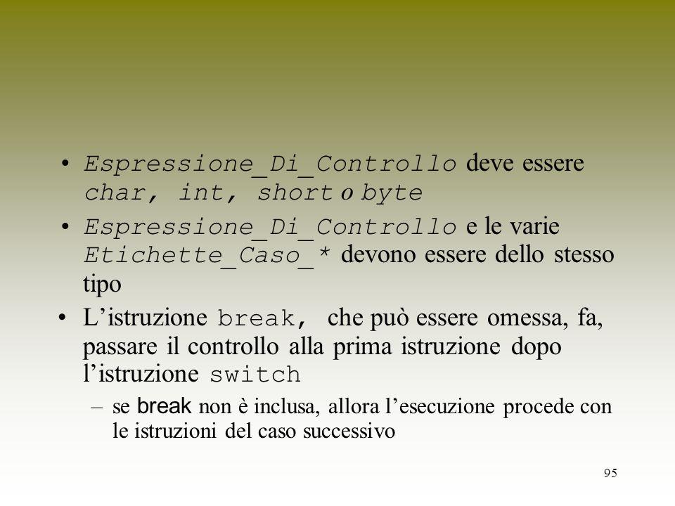 95 Espressione_Di_Controllo deve essere char, int, short o byte Espressione_Di_Controllo e le varie Etichette_Caso_* devono essere dello stesso tipo L