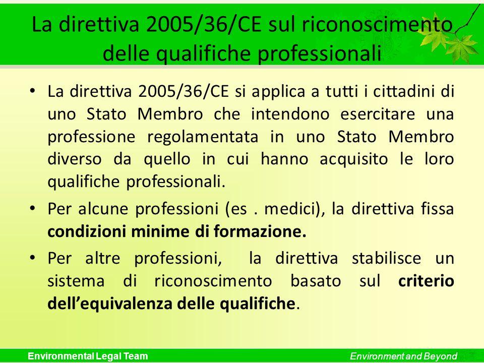 Environmental Legal TeamEnvironment and Beyond La direttiva 2005/36/CE sul riconoscimento delle qualifiche professionali La direttiva 2005/36/CE si ap