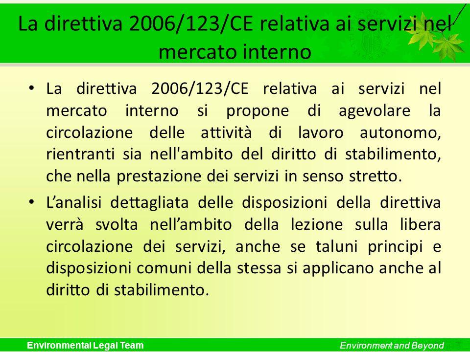 Environmental Legal TeamEnvironment and Beyond La direttiva 2006/123/CE relativa ai servizi nel mercato interno La direttiva 2006/123/CE relativa ai s