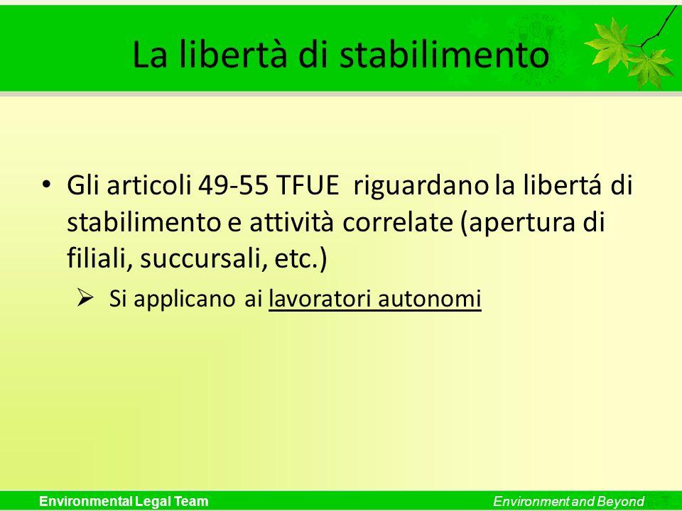 Environmental Legal TeamEnvironment and Beyond La libertà di stabilimento Gli articoli 49-55 TFUE riguardano la libertá di stabilimento e attività cor