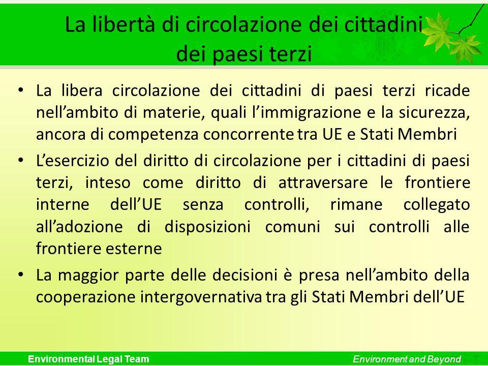 Environmental Legal TeamEnvironment and Beyond La libertà di circolazione dei cittadini dei paesi terzi La libera circolazione dei cittadini di paesi