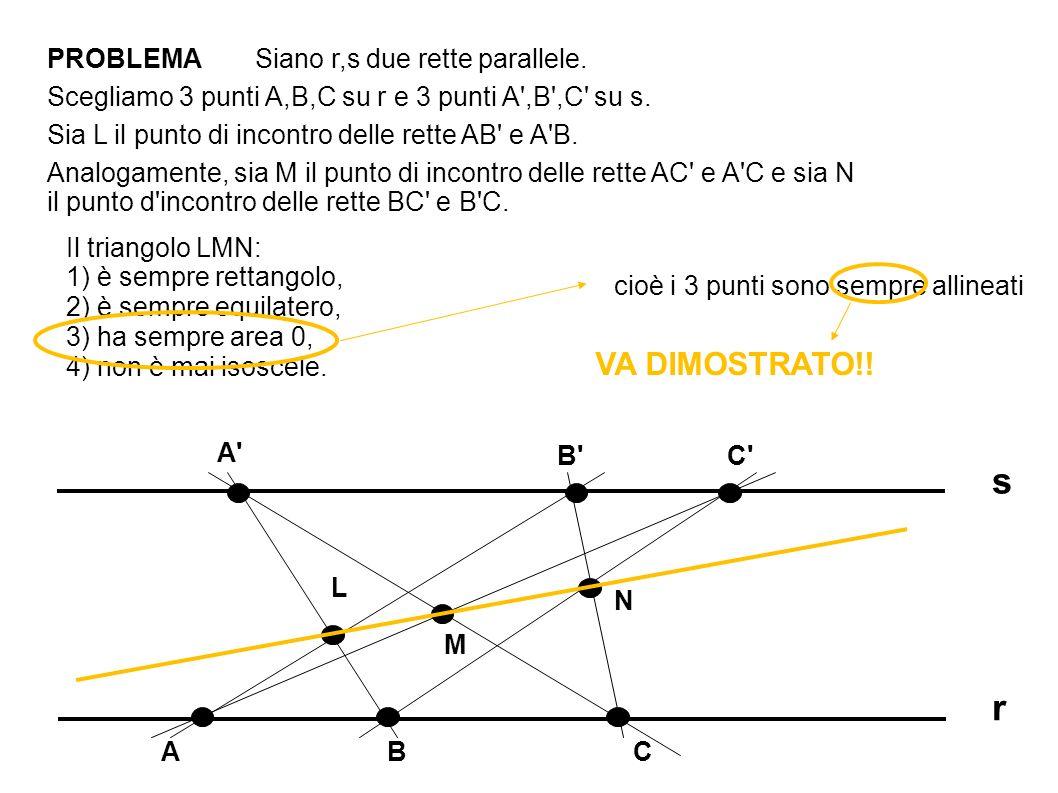 PROBLEMA r s A CBA C B Scegliamo 3 punti A,B,C su r e 3 punti A ,B ,C su s.