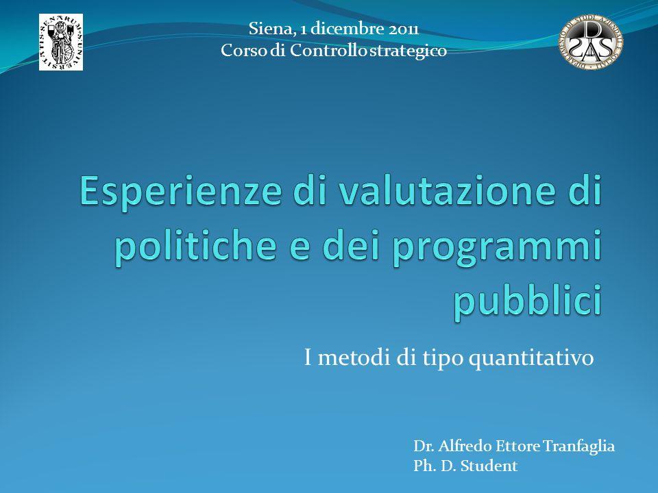 I metodi di tipo quantitativo Siena, 1 dicembre 2011 Corso di Controllo strategico Dr. Alfredo Ettore Tranfaglia Ph. D. Student