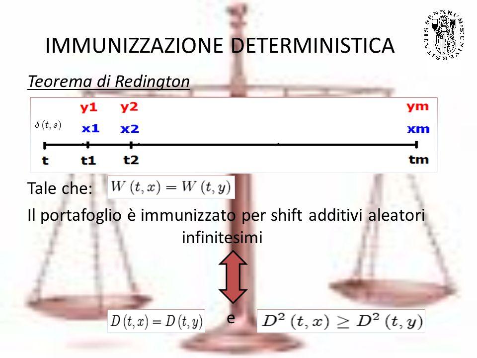 IMMUNIZZAZIONE DETERMINISTICA Teorema di Redington Tale che: Il portafoglio è immunizzato per shift additivi aleatori infinitesimi e