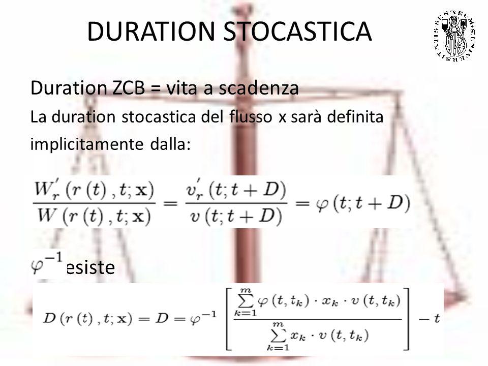 DURATION STOCASTICA Duration ZCB = vita a scadenza La duration stocastica del flusso x sarà definita implicitamente dalla: esiste