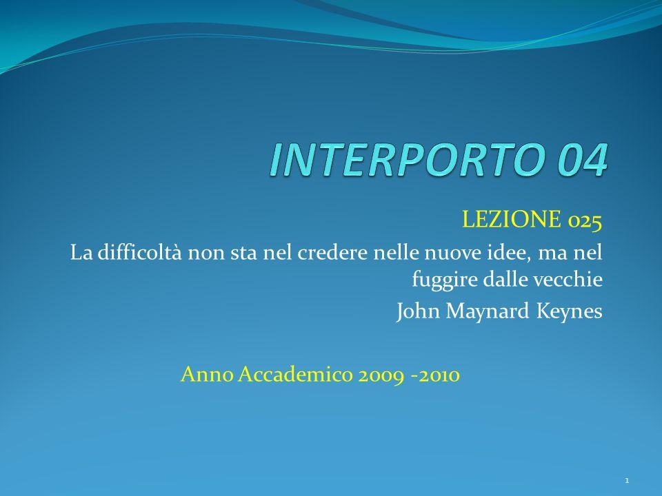 LEZIONE 025 La difficoltà non sta nel credere nelle nuove idee, ma nel fuggire dalle vecchie John Maynard Keynes Anno Accademico 2009 -2010 1