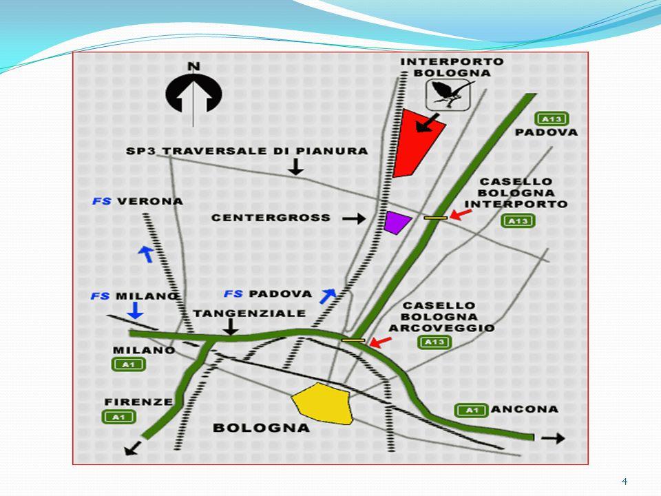 PREVISIONE DELLA DINAMICA EVOLUTIVA DEL RUOLO DEL SISTEMA La superficie dellinterporto di Bologna, pari a 2.000.000 di mq.