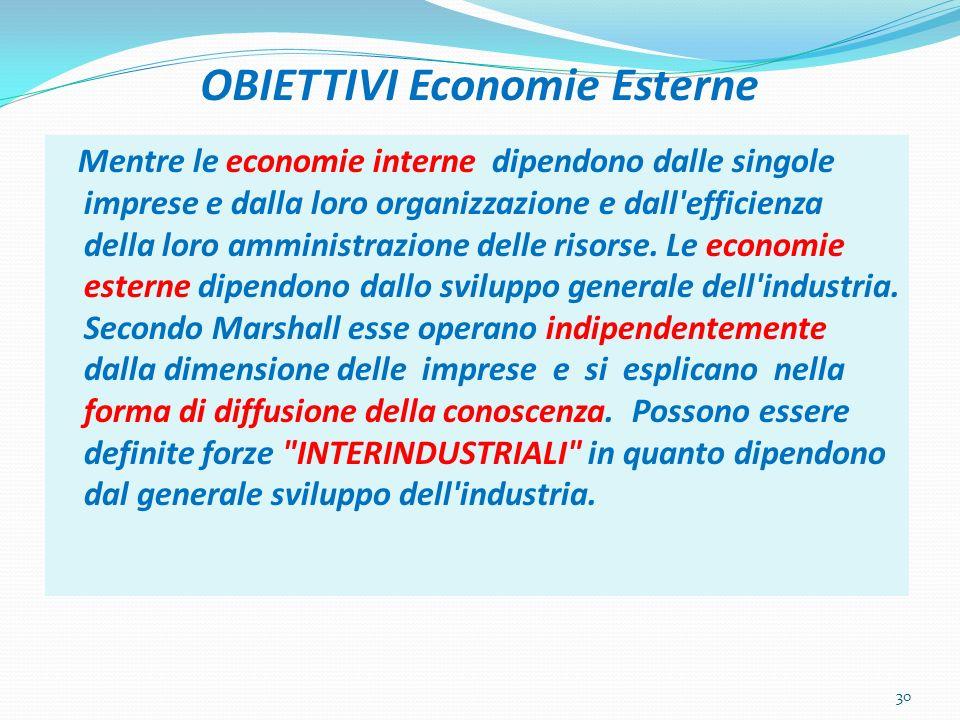 OBIETTIVI Economie Esterne Mentre le economie interne dipendono dalle singole imprese e dalla loro organizzazione e dall'efficienza della loro amminis