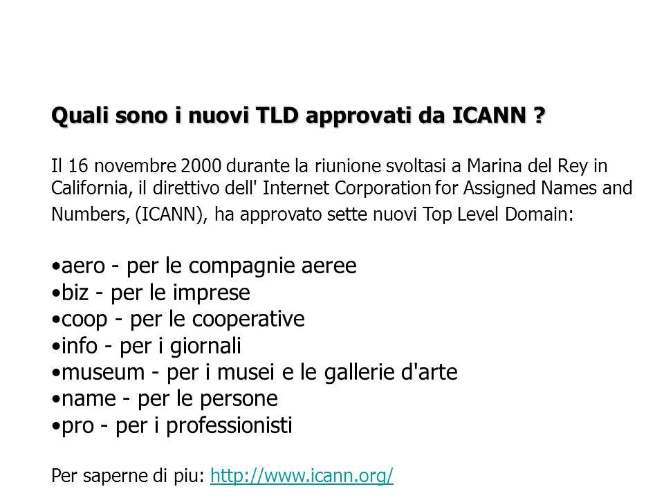 Quali sono i nuovi TLD approvati da ICANN ? Il 16 novembre 2000 durante la riunione svoltasi a Marina del Rey in California, il direttivo dell' Intern