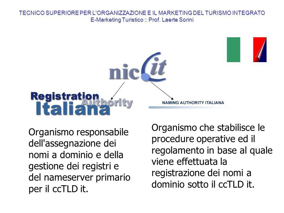 Organismo che stabilisce le procedure operative ed il regolamento in base al quale viene effettuata la registrazione dei nomi a dominio sotto il ccTLD