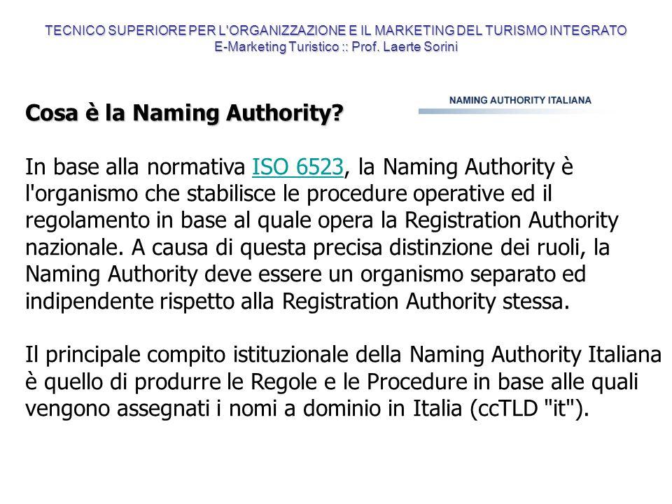 Cosa è la Naming Authority? In base alla normativa ISO 6523, la Naming Authority è l'organismo che stabilisce le procedure operative ed il regolamento
