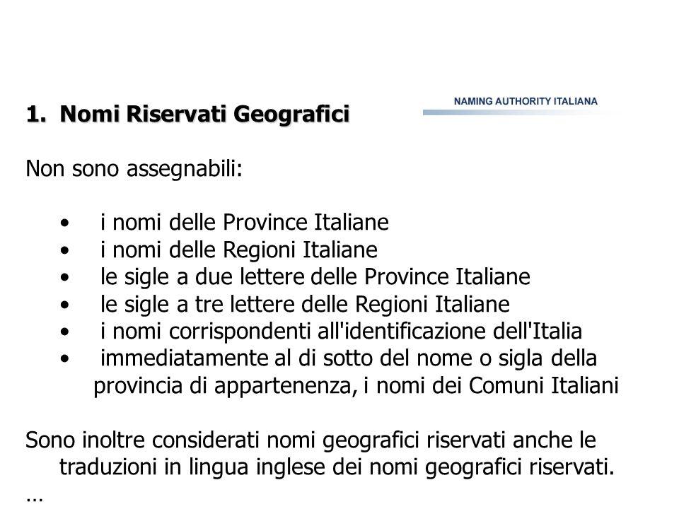 1.Nomi Riservati Geografici Non sono assegnabili: i nomi delle Province Italiane i nomi delle Regioni Italiane le sigle a due lettere delle Province I