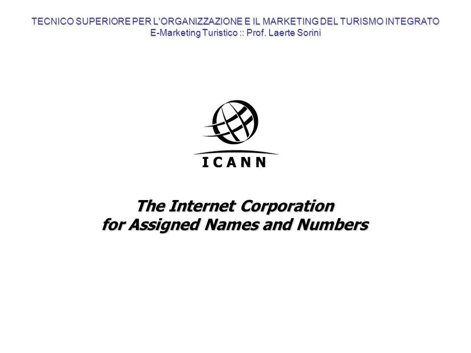 The Internet Corporation for Assigned Names and Numbers TECNICO SUPERIORE PER L'ORGANIZZAZIONE E IL MARKETING DEL TURISMO INTEGRATO E-Marketing Turist